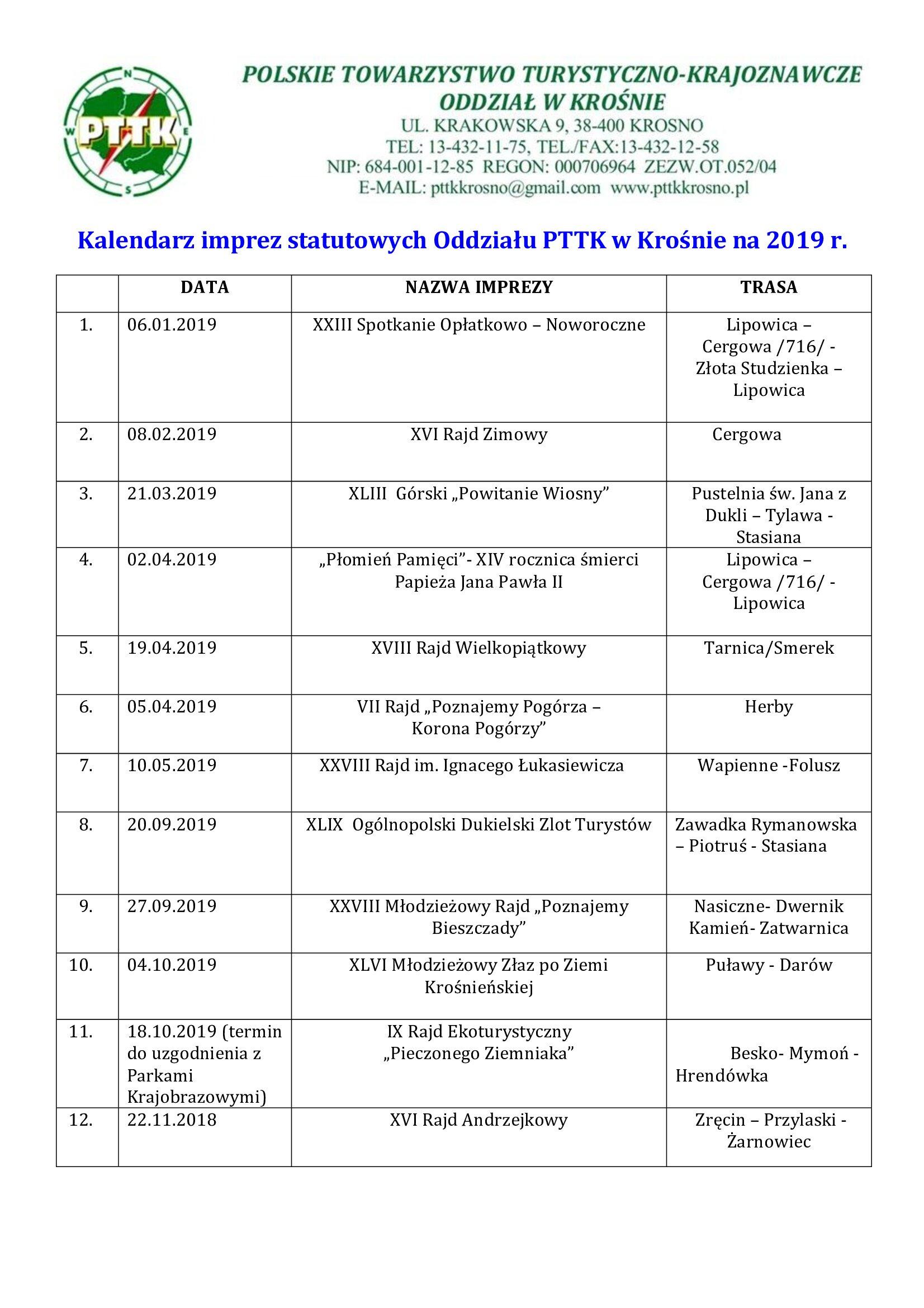 Kalendarz imprez statutowych 2019(1)