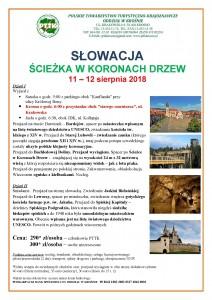 Słowacja- Ścieżka w Koronach Drzew 11-12.08.2018