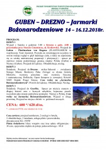 Guben - Drezno - Jarmarki Bożonarodzeniowe 14-16.12.2018