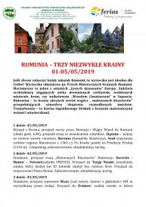 Rumunia - Trzy Niezwykłe Krainy 01-05.05. 2019 str. 1