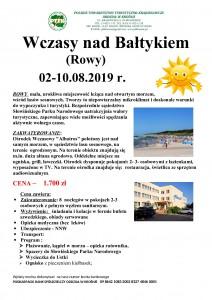Wczasy nad Bałtykiem - Rowy 02-10.08.2019